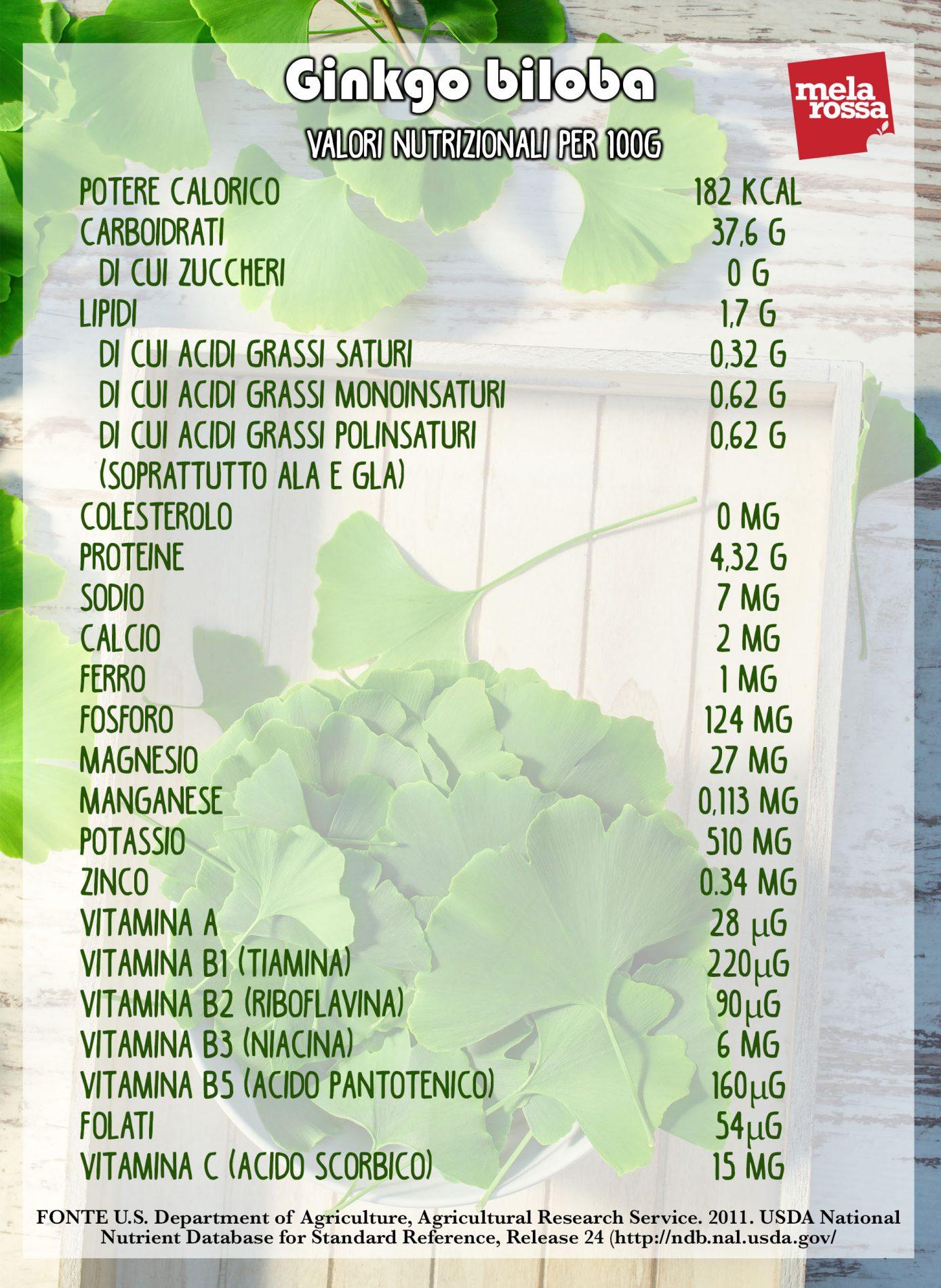 ginkgo biloba: valores nutricionales
